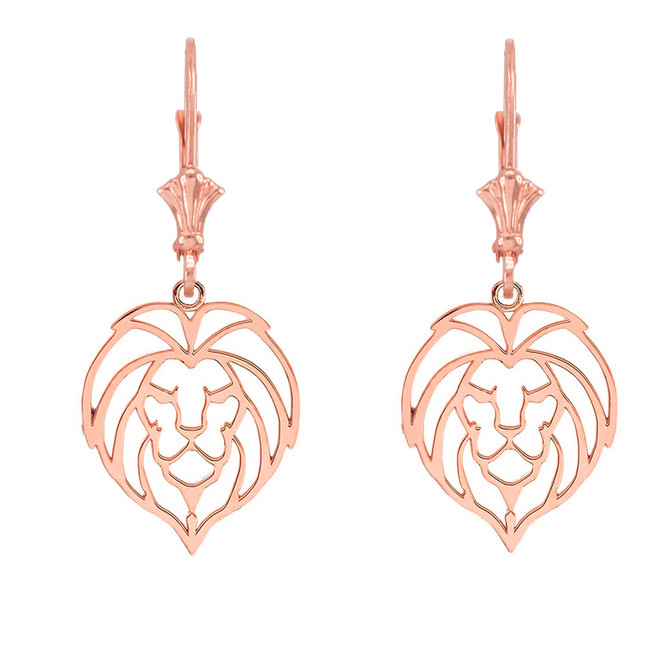 Lion Head Cut Out  Leverback Earring in 14K  (Rose/White) Gold