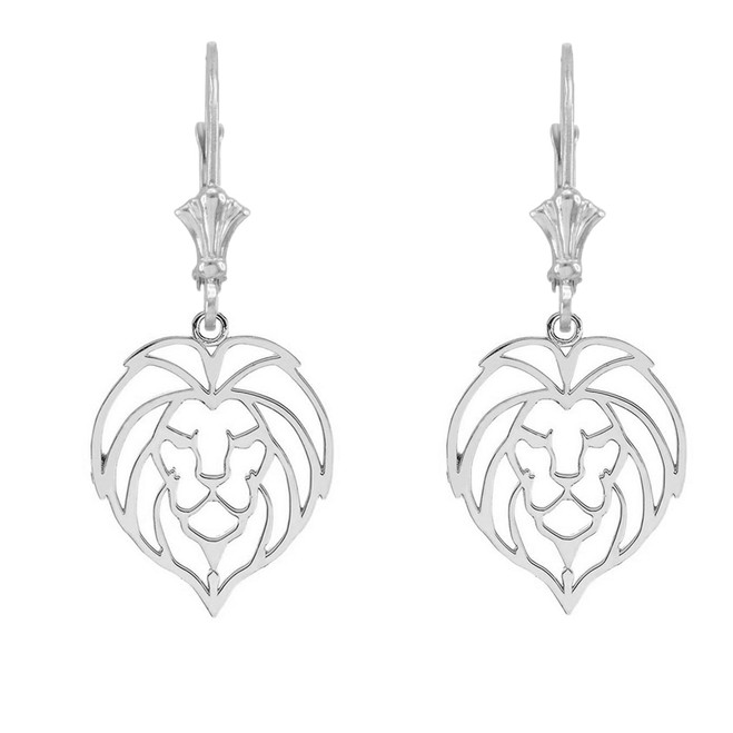 Lion Head Cut Out  Leverback Earring in Sterling Silver