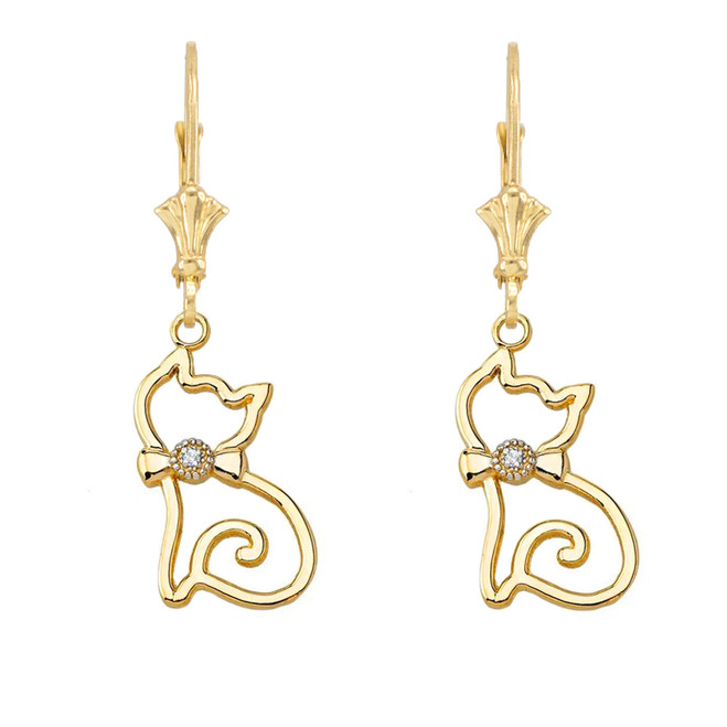 Openwork Diamond Cat Leverback Earring In Yellow Gold