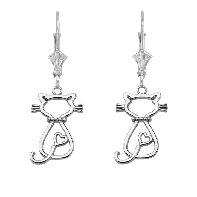 Openwork Backwards Cat Leverback Earring in Sterling Silver