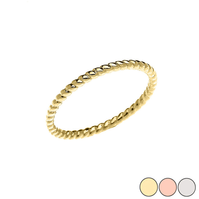 Rope Midi Design Ring in Gold (Yellow/Rose/White)