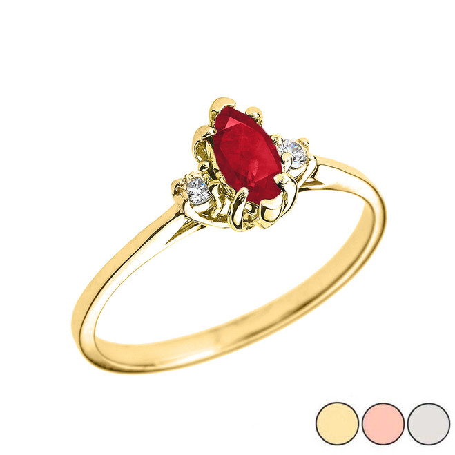 Beautiful  Diamond and Ruby Proposal and Birthstone Ring In Gold (Yellow/Rose/White)