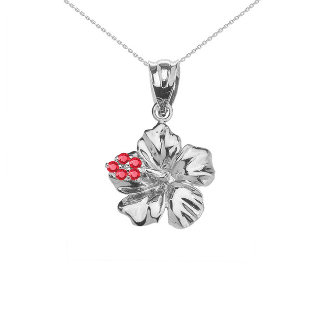 Caribbean Hibiscus (Malvaceae) Dainty Pendant Necklace In Sterling Silver