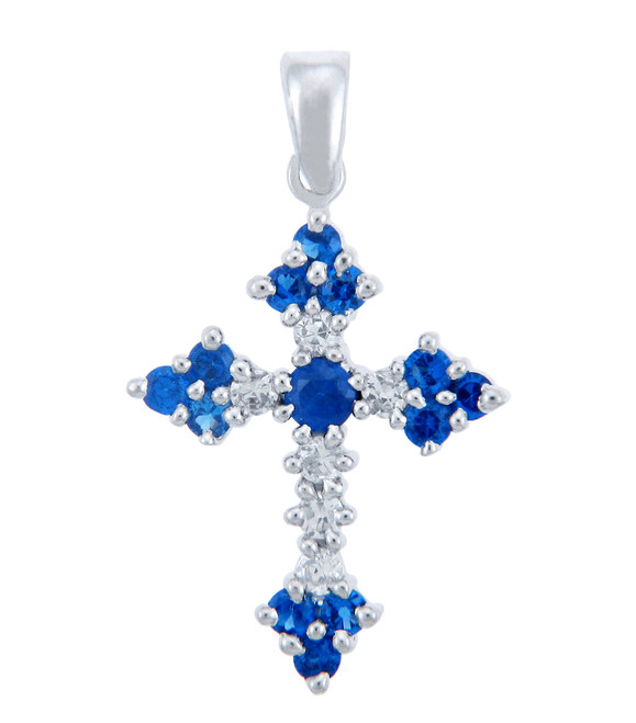 Silver Cross Pendant with Blue CZ Heart