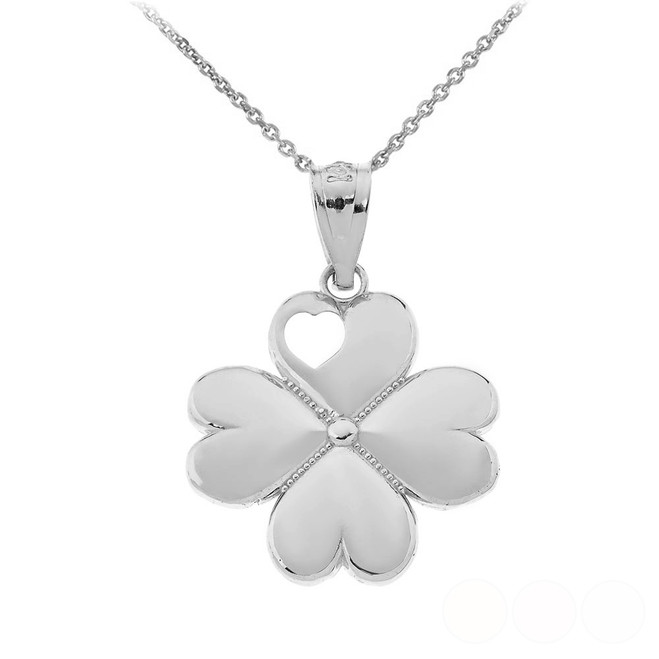 Lucky 4 Leaf Heart Clover Pendant Necklace in Sterling Silver
