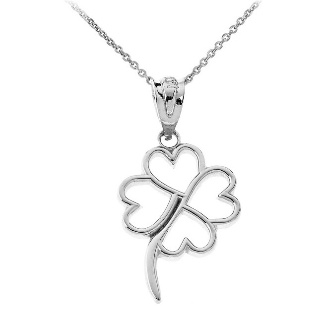 Dainty Openwork Lucky 4-Leaf Clover Pendant Necklace in Sterling Silver