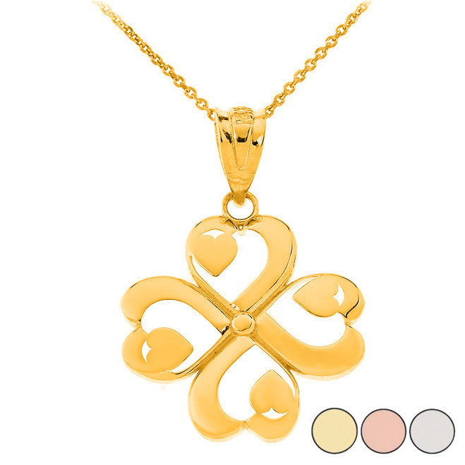 Shamrock Lucky 4-Leaf Heart Clover Pendant Necklace in Solid Gold (Yellow/Rose/White)