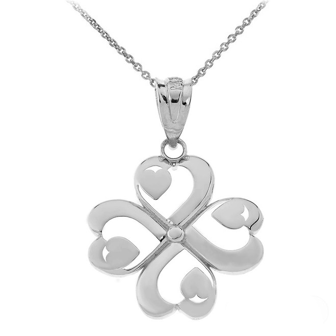 Shamrock Lucky 4-Leaf Heart Clover Pendant Necklace in Sterling Silver