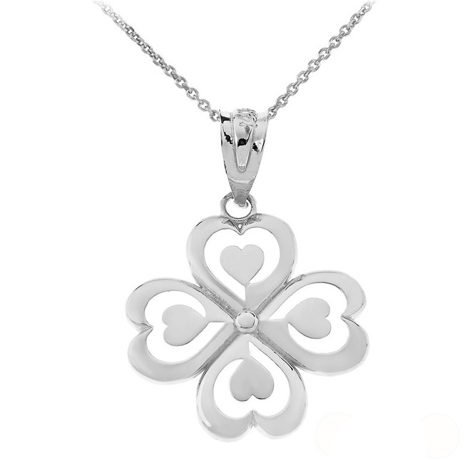Good Luck Charm Shamrock Heart Clover Quartet Pendant Necklace in Sterling Silver