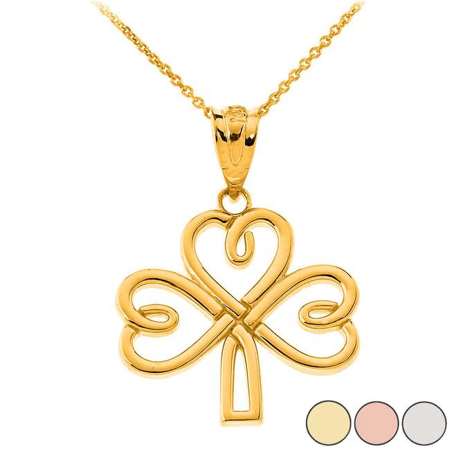 Celtic Irish Shamrock Pendant Necklace in Solid Gold (Yellow/Rose/White)