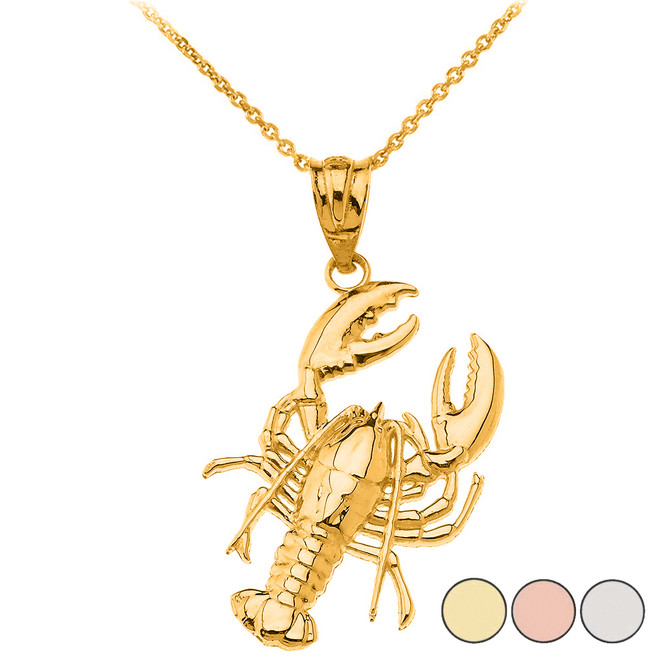 Sea Life Lobster Pendant Necklace in Solid Gold (Yellow/Rose/White)