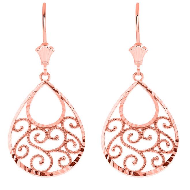 Filigree Teardrop Spiral Leverback Earrings in 14K Rose Gold