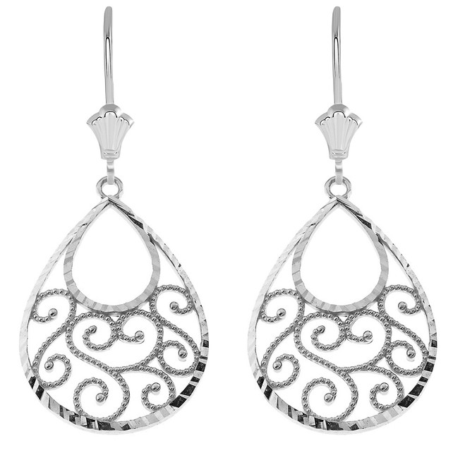 Filigree Teardrop Spiral Leverback Earrings in 14K White Gold