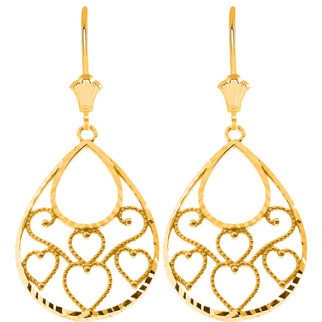 Filigree Diamond Cut Teardrop Hearts Leverback Earrings in Solid Yellow Gold