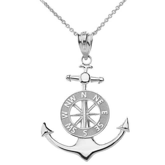 53ff7946e Mariner's Anchor Compass Charm Pendant Necklace in Sterling Silver
