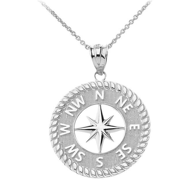Navigation Compass Pendant Necklace in Sterling Silver