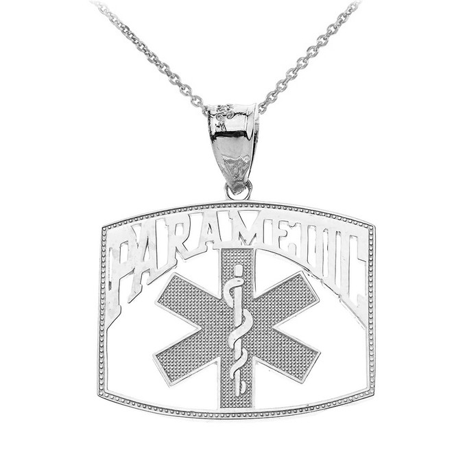 Paramedic Medical Specialist Pendant Necklace in Sterling Silver