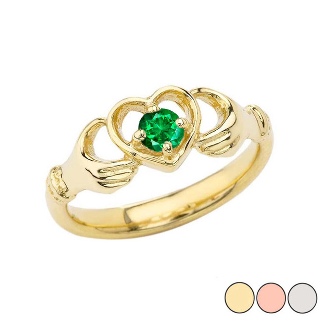 .20 CT Emerald Classic Claddagh Ring in Gold (Yellow/Rose/White)