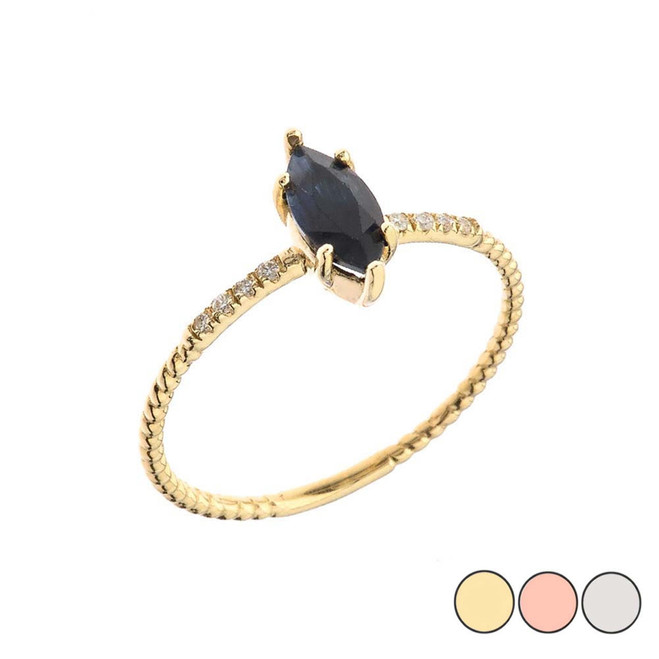 Dainty Solitaire Marquise Cut Sapphire and Diamond Rope Design Engagement/Promise Ring in Gold (Yellow/Rose/White)