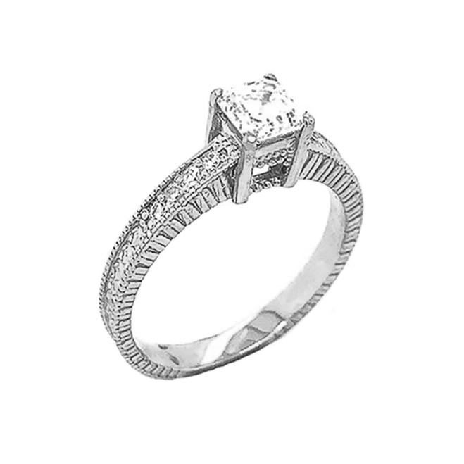 Art Deco Diamond Engagement/Wedding Ring with 1ct Fancy Asscher Cut CZ Center Stone in Sterling Silver