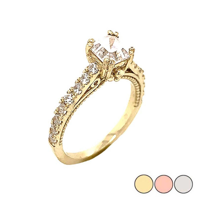 Art Deco Diamond Engagement/Wedding Ring with 2ct Fancy Asscher Cut CZ Center Stone in Gold (Yellow/Rose/White)