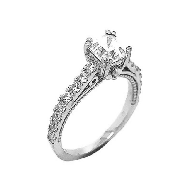Art Deco Diamond Engagement/Wedding Ring with 2ct Fancy Asscher Cut CZ Center Stone in Sterling Silver