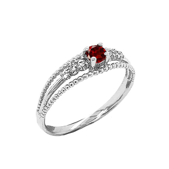 Genuine Garnet and Diamond Modern Engagement/Promise Ring in Sterling Silver