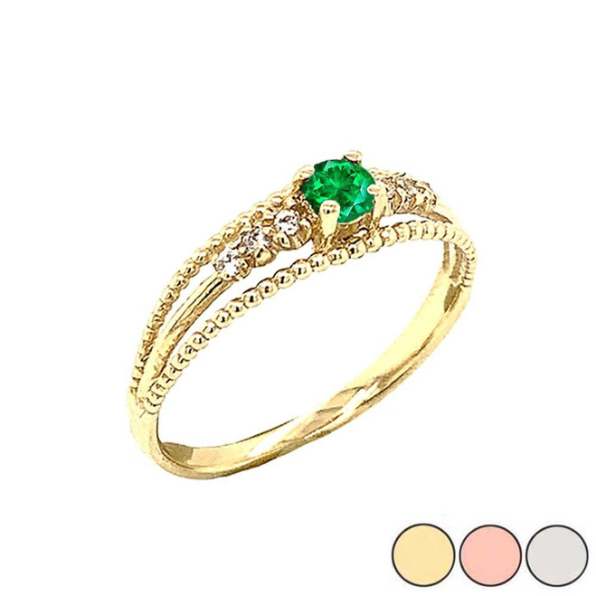 Genuine Emerald and Diamond Modern Engagement/Promise Ring in Gold (Yellow/Rose/White)
