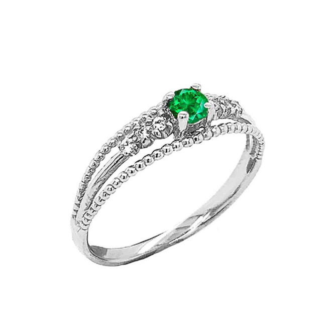 Genuine Emerald and Diamond Modern Engagement/Promise Ring in Sterling Silver