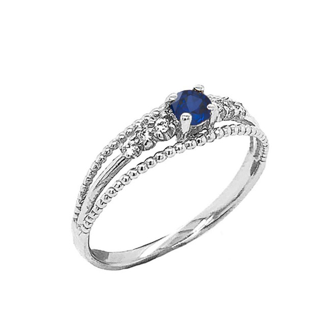 Genuine Sapphire and Diamond Modern Engagement/Promise Ring in Sterling Silver