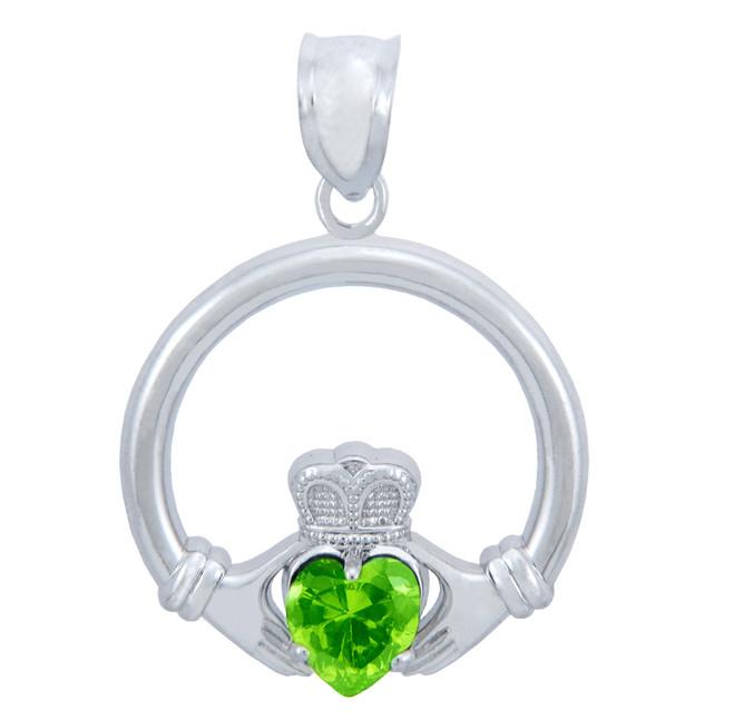 Silver Claddagh Peridot CZ Heart Pendant (M)