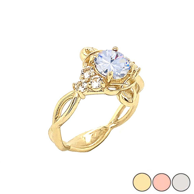Genuine White Topaz Engagement/Wedding Ring with Infinity Band in Gold (Yellow/Rose/White)