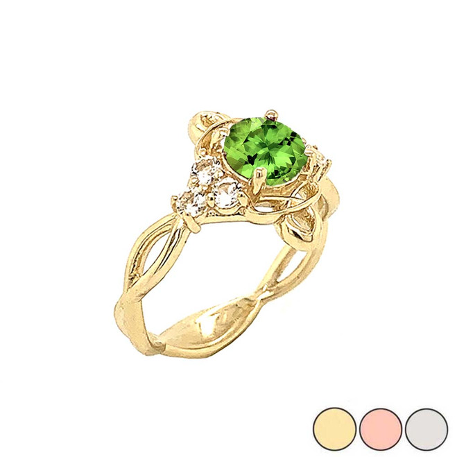 Genuine Peridot and White Topaz Engagement/Wedding Ring with Infinity Band in Gold (Yellow/Rose/White)