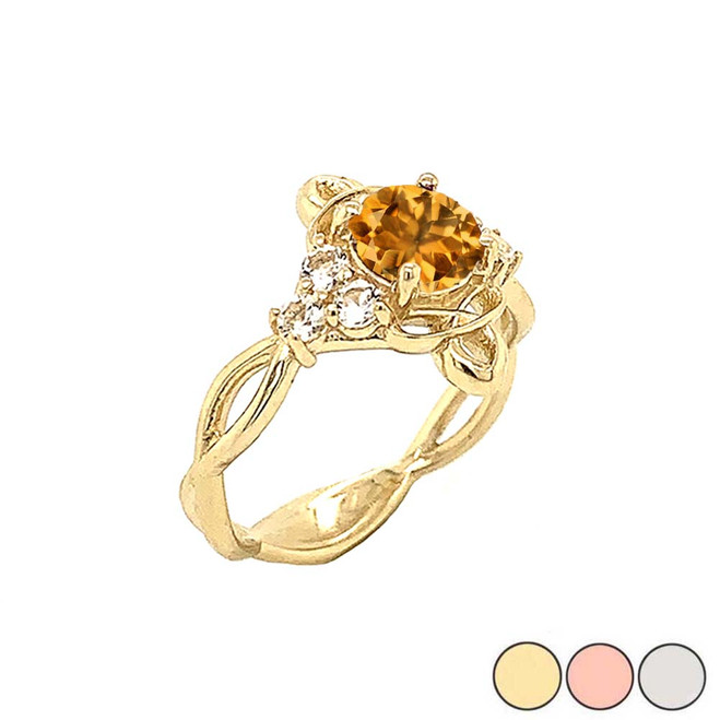 Genuine Citrine and White Topaz Engagement/Wedding Ring with Infinity Band in Gold (Yellow/Rose/White)