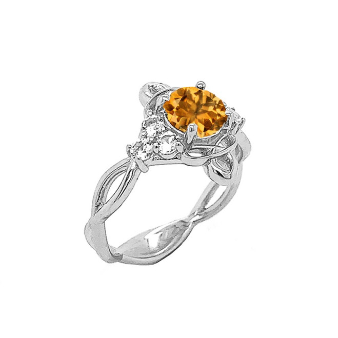 Genuine Citrine and White Topaz Engagement/Wedding Ring with Infinity Band in Sterling Silver