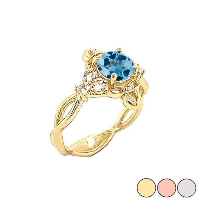 Genuine Blue Topaz and White Topaz Engagement/Wedding Ring with Infinity Band in Gold (Yellow/Rose/White)