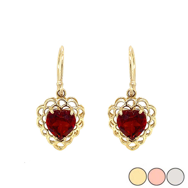 Genuine Garnet Filigree Heart-Shaped Dangle Earrings in Gold (Yellow/Rose/White)