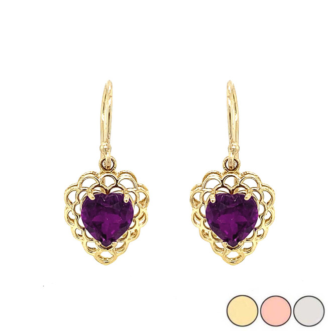Genuine Amethyst Filigree Heart-Shaped Dangle Earrings in Gold (Yellow/Rose/White)