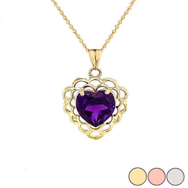 Genuine Amethyst Filigree Heart-Shaped Pendant Necklace in Gold (Yellow/Rose/White)