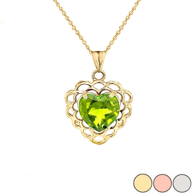 Genuine Peridot Filigree Heart-Shaped Pendant Necklace in Gold (Yellow/Rose/White)