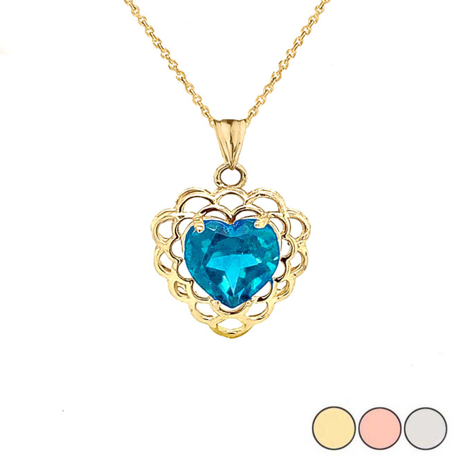 Genuine Blue Topaz Filigree Heart-Shaped Pendant Necklace in Gold (Yellow/Rose/White)
