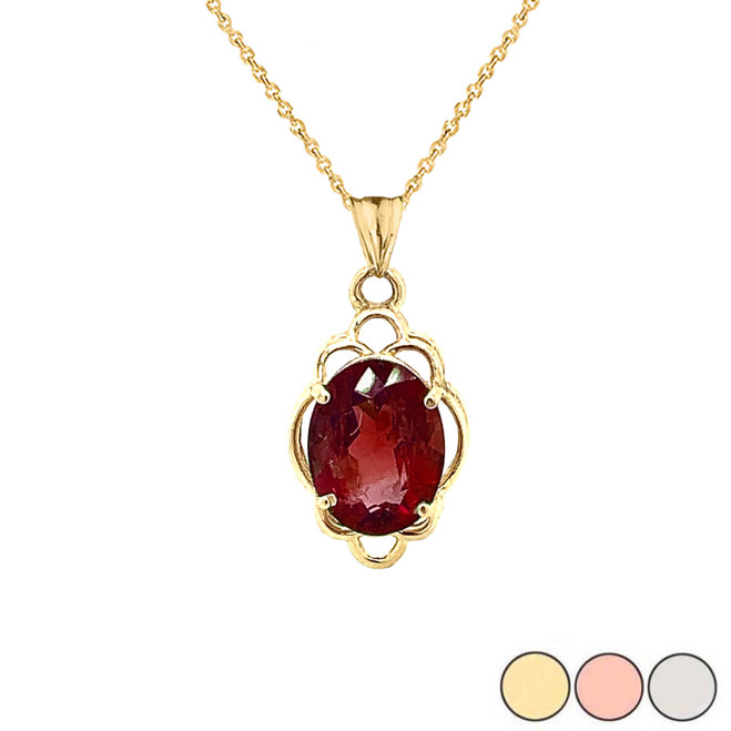 Genuine Garnet Oval-Shaped Clover Pendant Necklace in Gold (Yellow/Rose/White)
