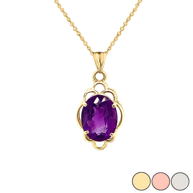 Genuine Amethyst Oval-Shaped Clover Pendant Necklace in Gold (Yellow/Rose/White)