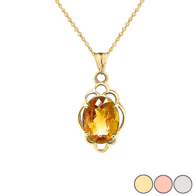 Genuine Citrine Oval-Shaped Clover Pendant Necklace in Gold (Yellow/Rose/White)