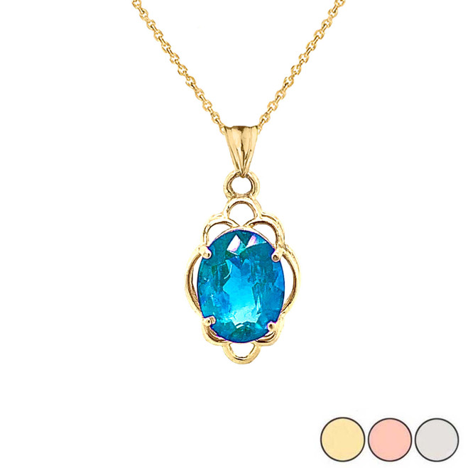 Genuine Blue Topaz Oval-Shaped Clover Pendant Necklace in Gold (Yellow/Rose/White)