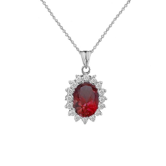 Genuine Garnet Fancy Pendant Necklace in Sterling Silver
