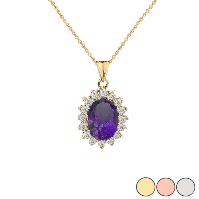 Genuine Amethyst Fancy Pendant Necklace in Gold (Yellow/Rose/White)