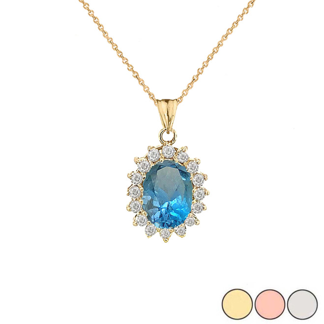 Genuine Blue Topaz Fancy Pendant Necklace in Gold (Yellow/Rose/White)