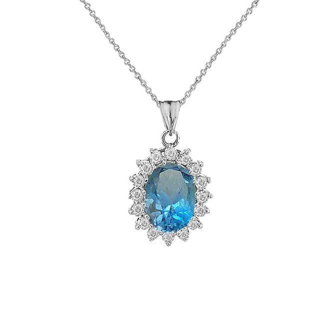 Genuine Blue Topaz Fancy Pendant Necklace in Sterling Silver