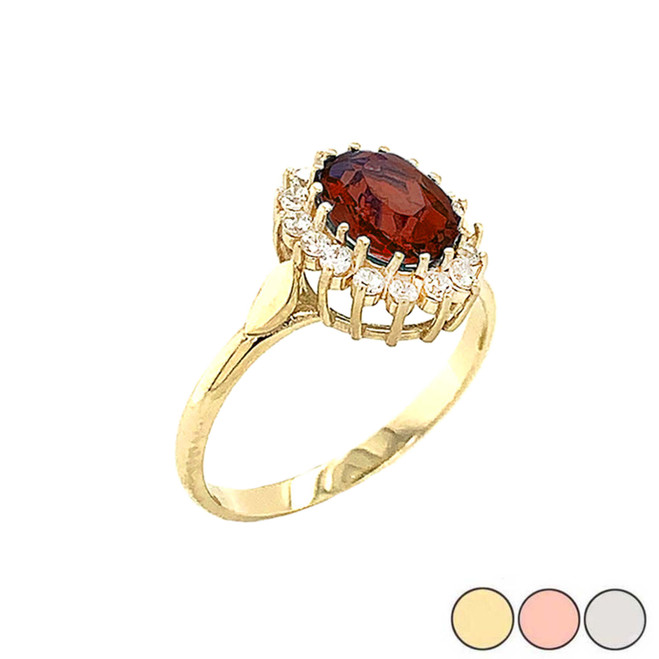 Genuine Garnet Fancy Engagement/Wedding Solitaire Ring in Gold (Yellow/Rose/White)